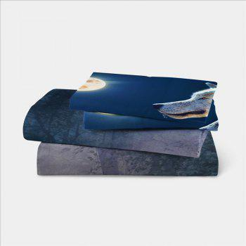 Moonlight Wolf Series Embroidery Three or FourPieces Beddings Set AS19 - FROST EURO KING