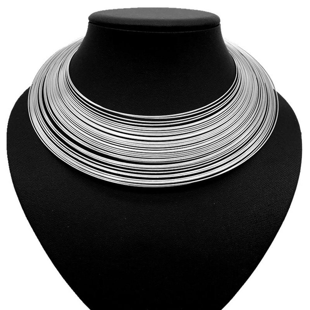 Femmes Filles Multi-Layer Metal Choker Collier Ouvert Court Collier Fine Jewelry - SILVER