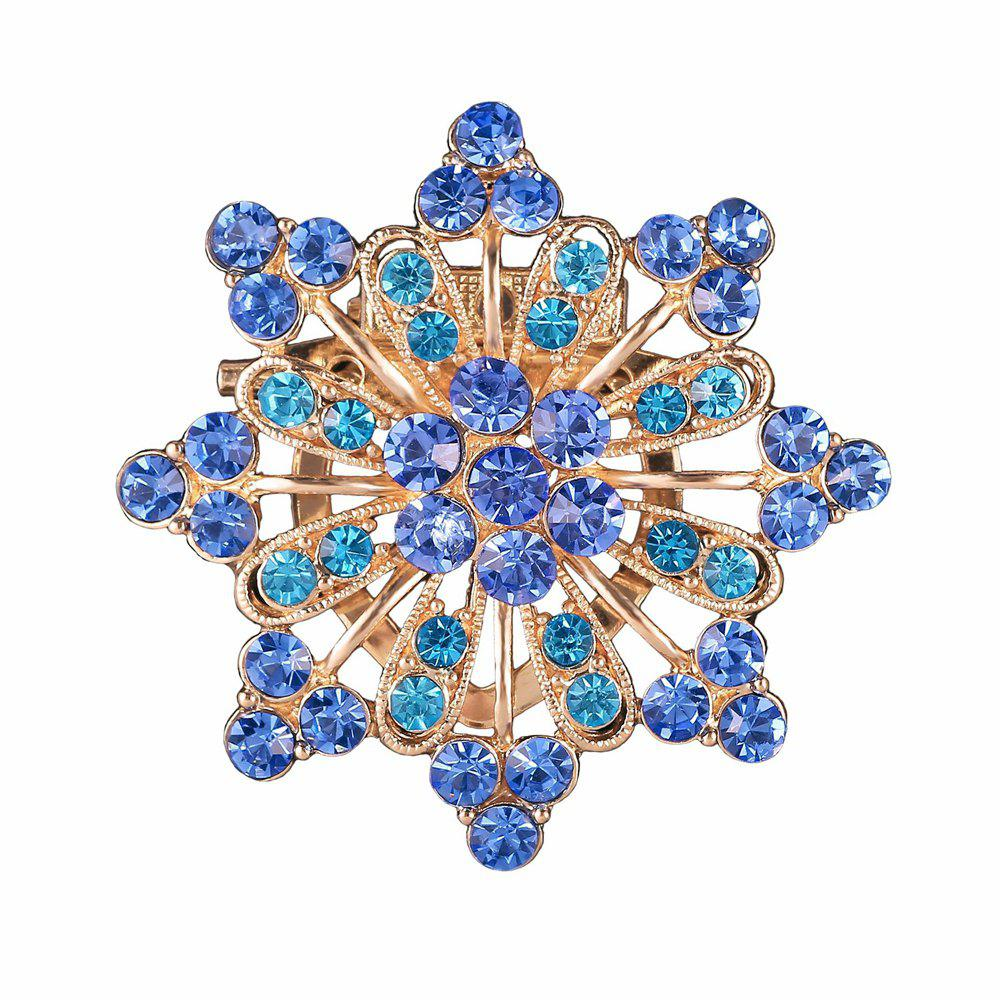 Women Girls Diamond Blue Flower Brooch Fine Jewelry Gifts - BLUE