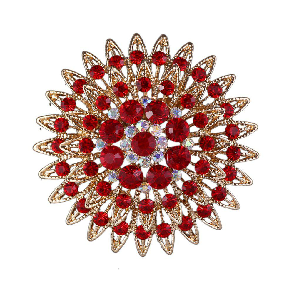 Women Girls Crystal Flower Brooch Fine Jewelry Gifts - RED