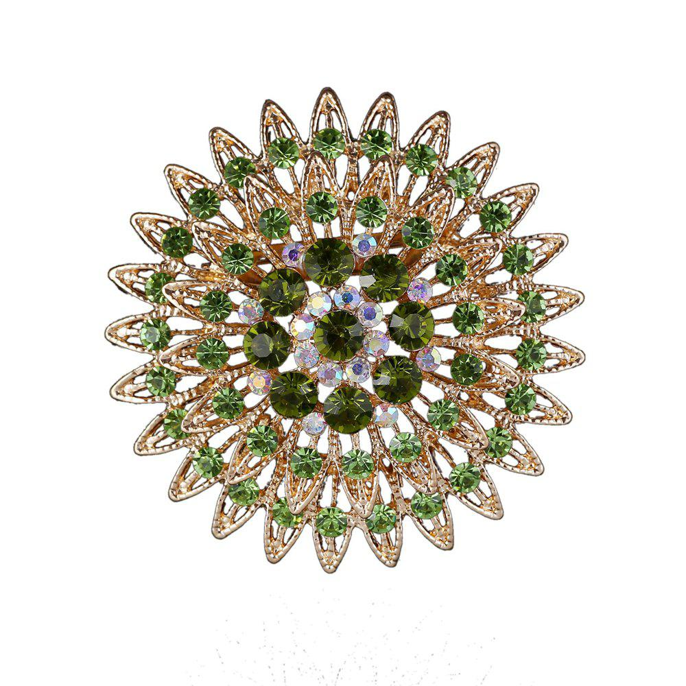 Women Girls Crystal Flower Brooch Fine Jewelry Gifts - GREEN