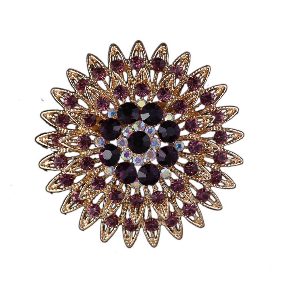 Women Girls Crystal Flower Brooch Fine Jewelry Gifts - PURPLE