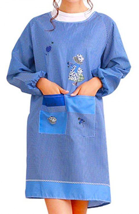 Creative Kitchen Apron Long Sleeved Home Furnishing Apron - BLUE