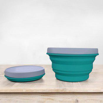 Silicone Collapsible Bowl Cup for Outdoor Camping Hiking Travel Folding Bowls - BLUE L
