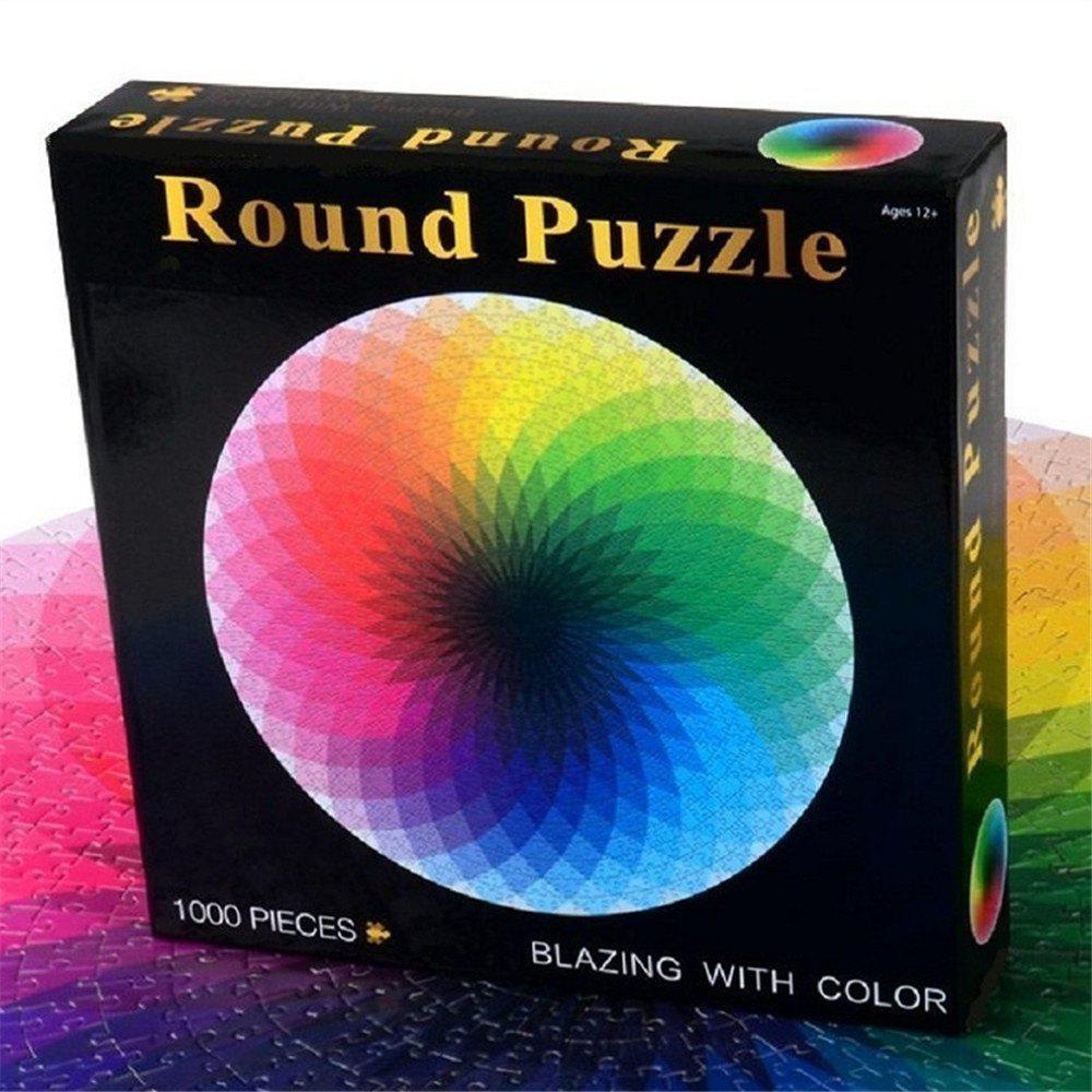 Round Jigsaw Puzzles Rainbow Palette Intellectual Game for Adults and Kids 1000PCS A - COLOUR