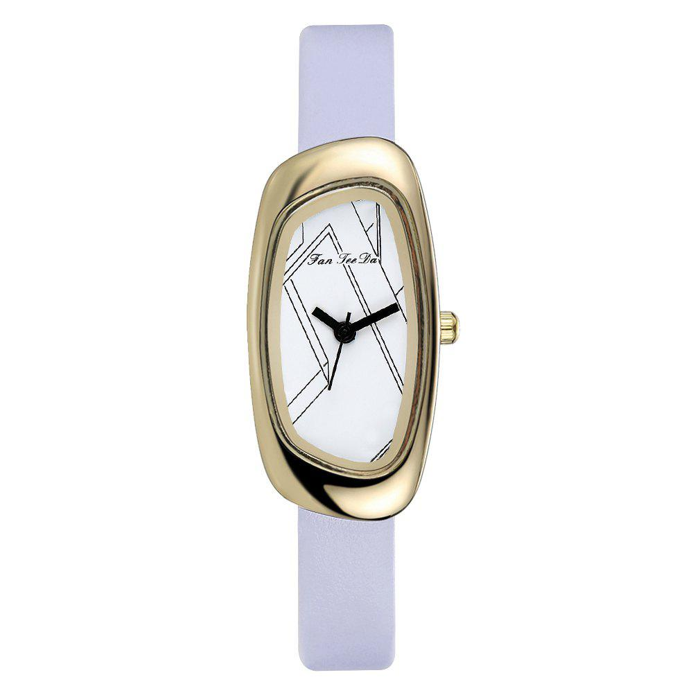 Fanteeda FD021 Women Unique Case Leather Band Quartz Watch - PURPLE