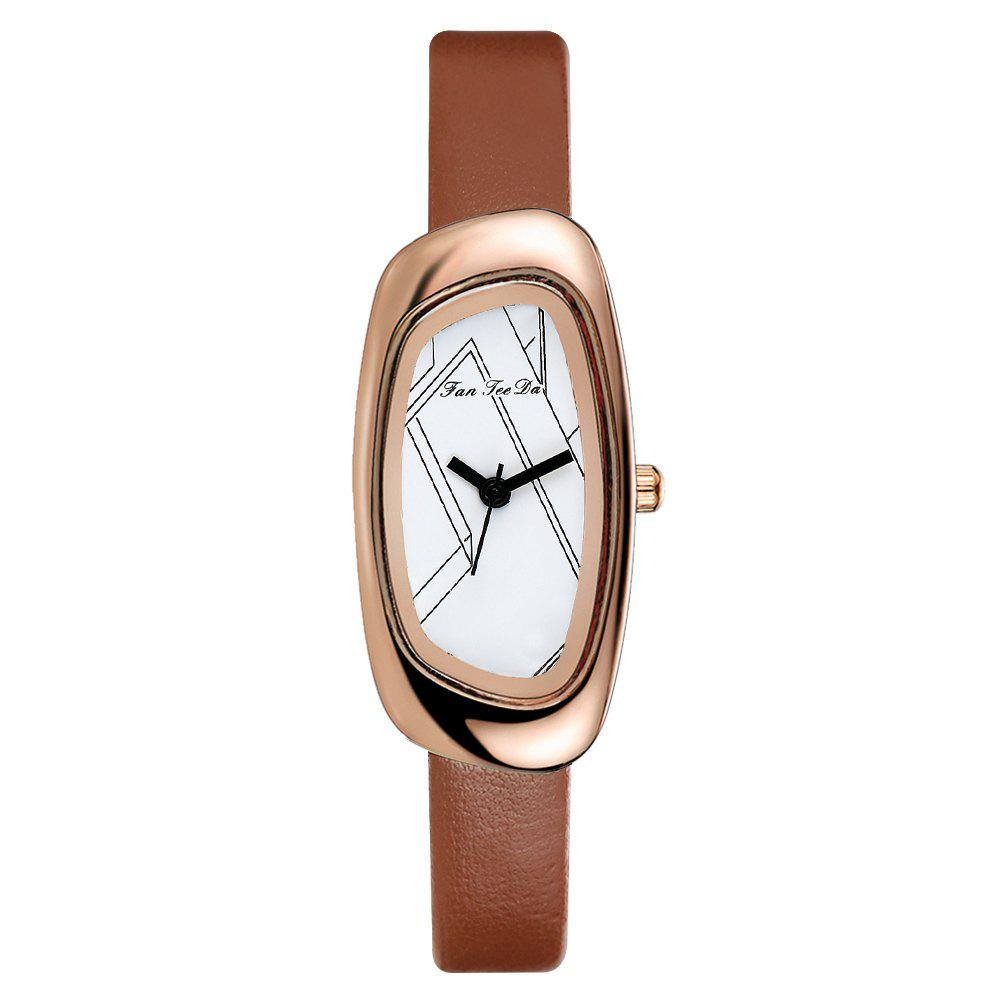 Fanteeda FD022 Women Unique Case Leather Band Quartz Watch - BROWN