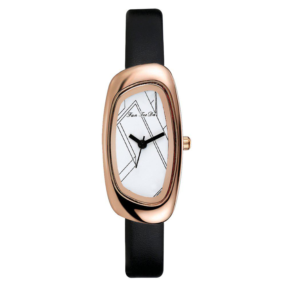 Fanteeda FD022 Women Unique Case Leather Band Quartz Watch - BLACK