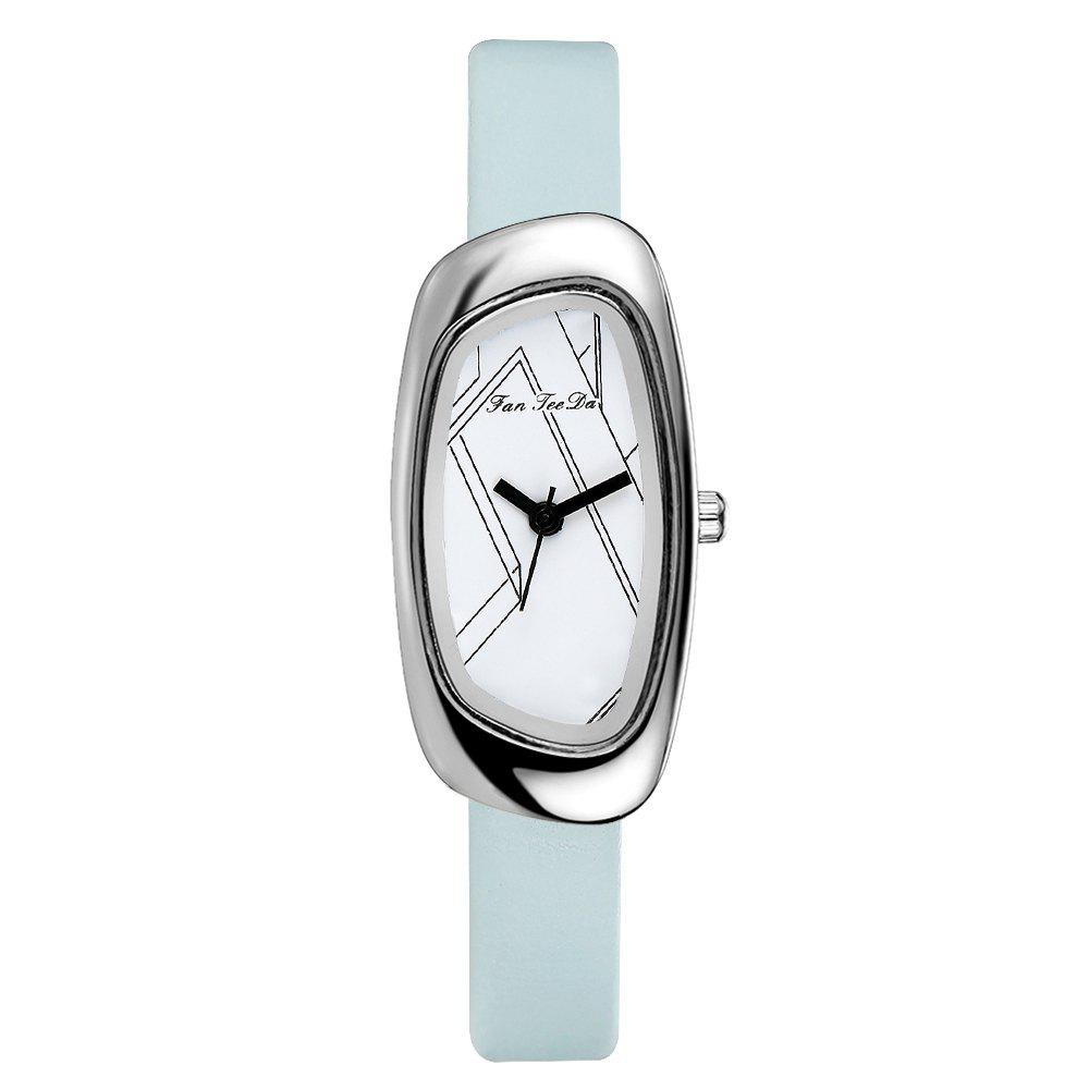 Fanteeda FD023 Women Unique Case Leather Band Quartz Watch - SKY BLUE
