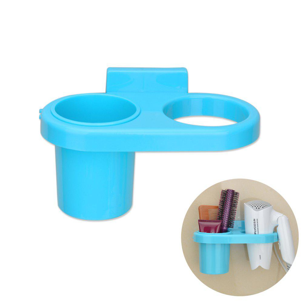 Bath Tool Carrier Strong Suction Dish On-Wall Storage Box Hairdryer Holder - BLUE