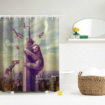 Sloth Polyester Shower Curtain Bathroom  High Definition 3D Printing Water-Proof - COLORMIX W71 INCH * L79 INCH