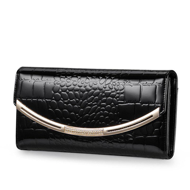 Women's Wallet Leather Long Korean Version of The Cowhide Pattern Handbags - BLACK