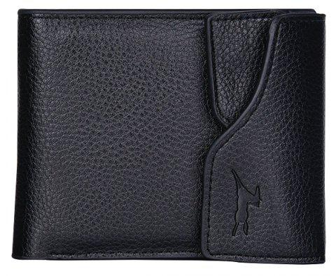 Button Wallet Men's Multi-card Driver's License Lai Chi Pattern Soft Leather Cross-wallet - BLACK