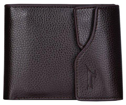 Button Wallet Men's Multi-card Driver's License Lai Chi Pattern Soft Leather Cross-wallet - COFFEE