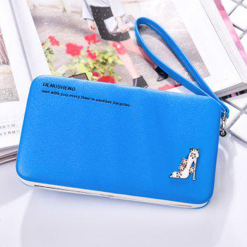 Female Wallet Long Pencil Case Clutch Bag Student Lunch Box Creative Models Mobile Phone Package - BLUE