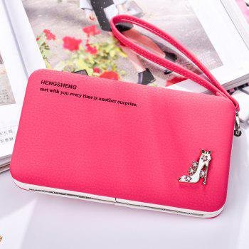 Female Wallet Long Pencil Case Clutch Bag Student Lunch Box Creative Models Mobile Phone Package - LIGHT ROSE