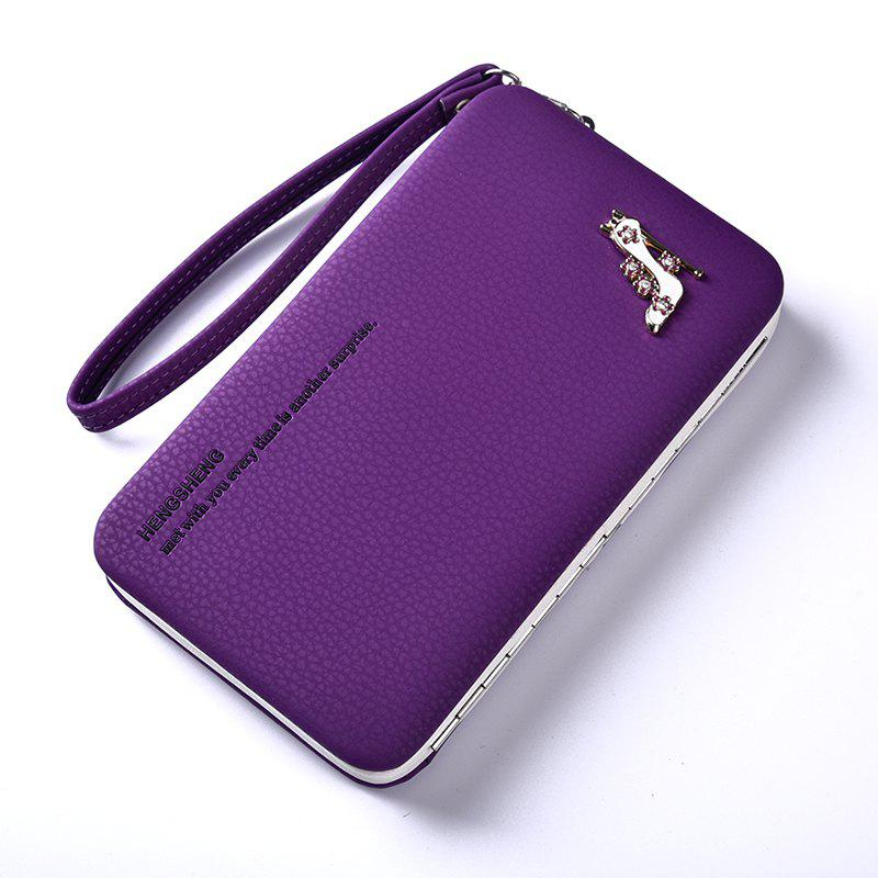 Female Wallet Long Pencil Case Clutch Bag Student Lunch Box Creative Models Mobile Phone Package - DEEP PURPLE