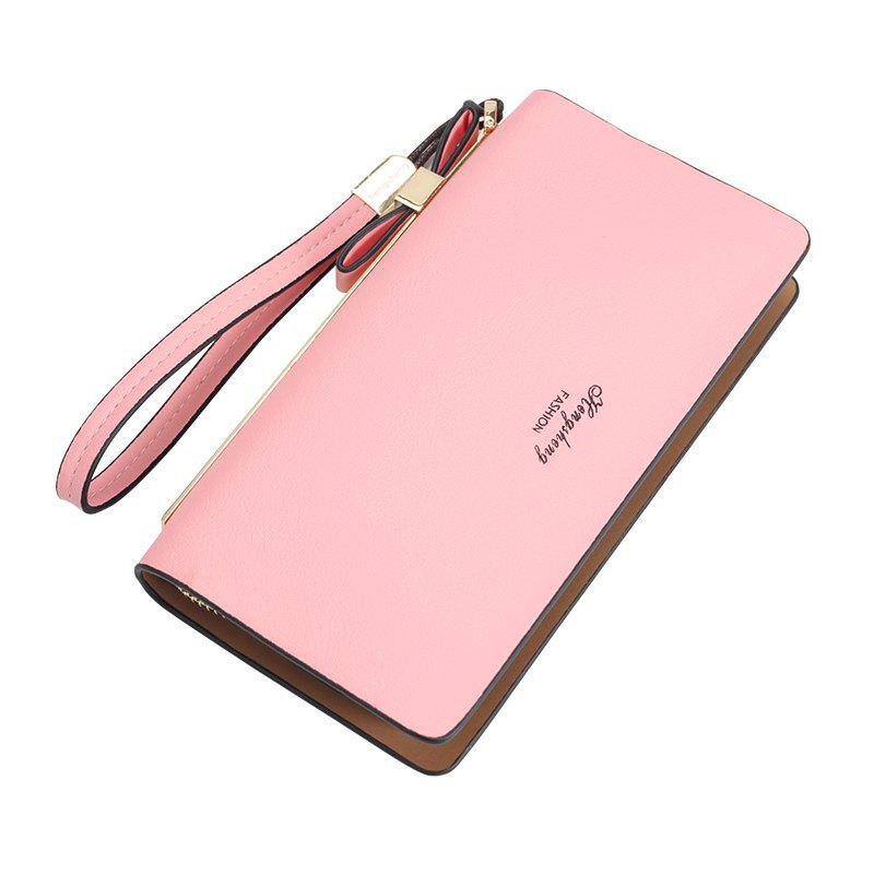 Women's Wallet New Clutch Bag Long Zipper Soft Leather Bow Folder Phone - PINK
