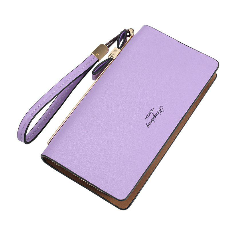 Women's Wallet New Clutch Bag Long Zipper Soft Leather Bow Folder Phone - PURPLE