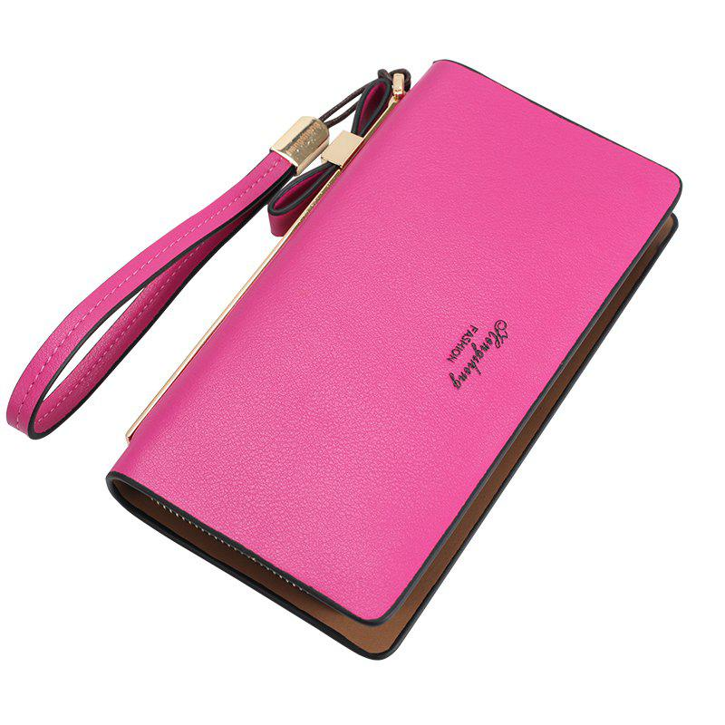 Women's Wallet New Clutch Bag Long Zipper Soft Leather Bow Folder Phone - ROSE RED