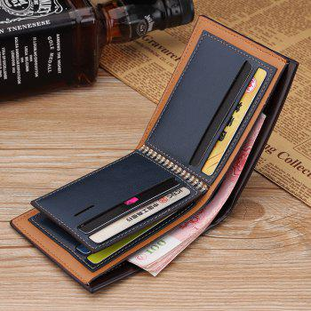 New Men's Short Wallet Casual Multi-function Card Zipper Buckle Fold - BLUE