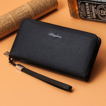 Business Casual Clutch Men's Wallet Long Section Multi-purpose Handbag Male Large Capacity Strap Package Hand Rope - BLACK