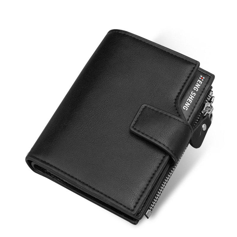 Men's Vertical Paragraph Casual Korean Version of Multi-function Short Wallet - BLACK