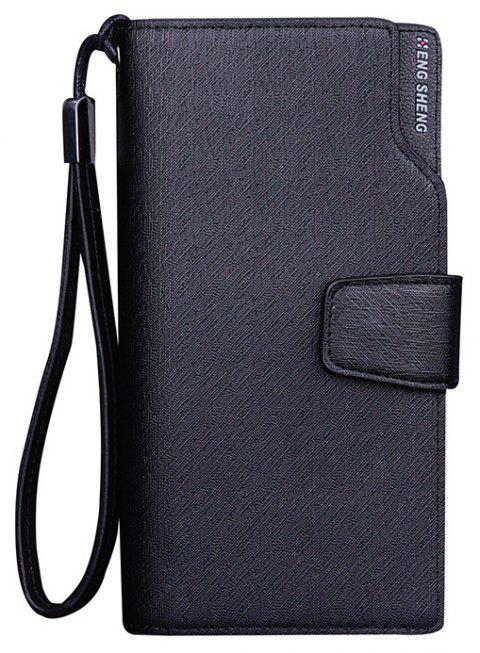 Men's Wallet Casual Multi-functional  Snap Clutch Bag Business Long Zipper Cell Phone Package - BLACK