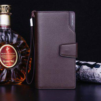 Men's Wallet Casual Multi-functional  Snap Clutch Bag Business Long Zipper Cell Phone Package - COFFEE