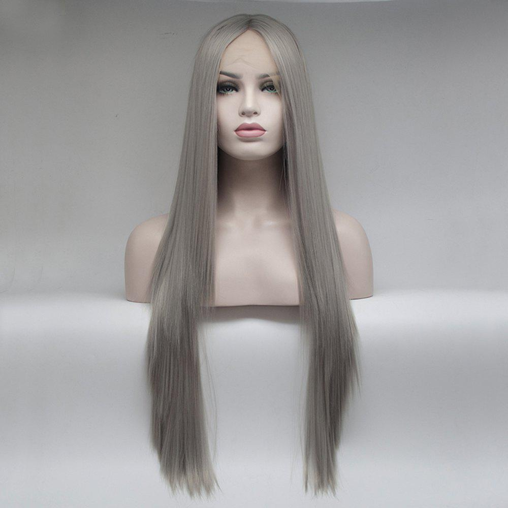 Grey Kinky Straight Long Hair for Women Heat Resistant Synthetic Lace Front Wigs - GREY 24INCH