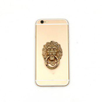 Lion Head 90 Degree Rotating Phone Finger Ring Stand Holder - COPPER COLOR