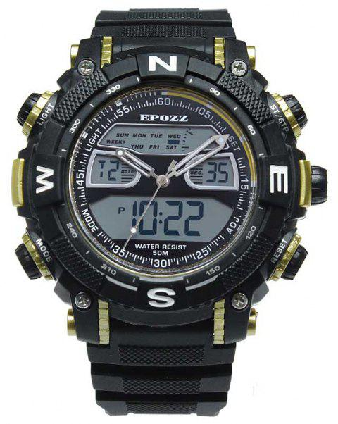 EPOZZ 2801 Men Sports Analog Digital Waterproof Watch - YELLOW