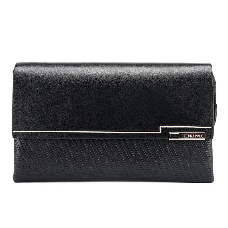 New Men's Casual Hand with Soft Leather Bag - BLACK