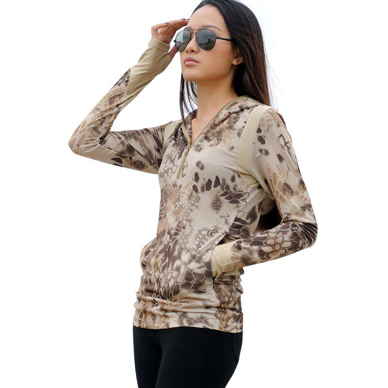 Python Pattern Camouflage Women Long-Sleeved Outdoor Sports Fast-Drying  Hoodie - LIGHT YELLOW L
