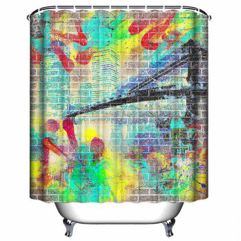 Graffiti Style Shower Curtain Waterproof Polyester - multicolor W71 INCH * L71 INCH