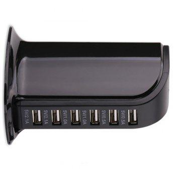 Multi-Functional 6 USB Ports Charger - BLACK