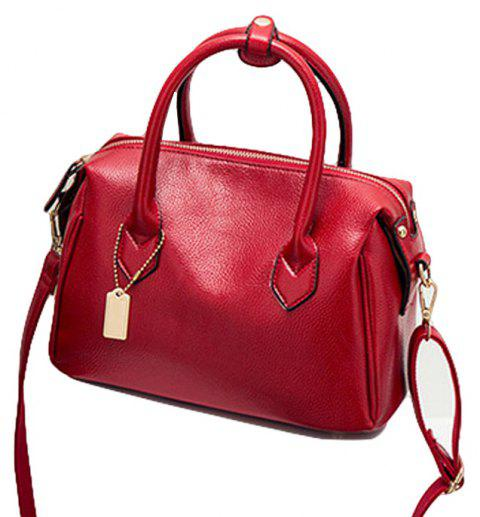 Women Fashion Handbags PU Leather Shoulder Messenger Tote Bags - RED