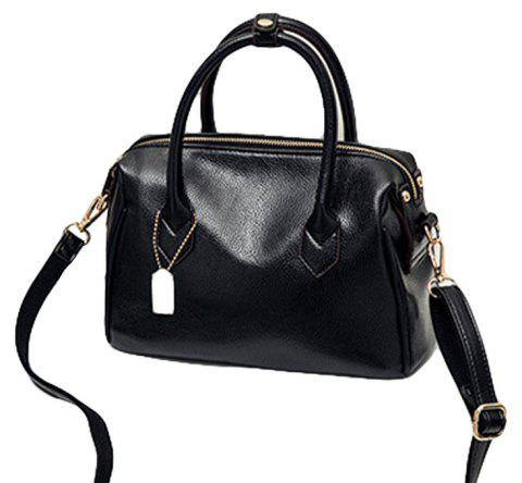 Women Fashion Handbags PU Leather Shoulder Messenger Tote Bags - BLACK