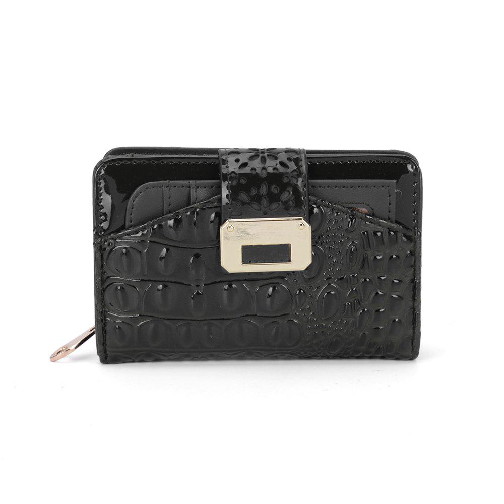 Women's Purse Crocodile Print Classical Style All Match Bag - BLACK