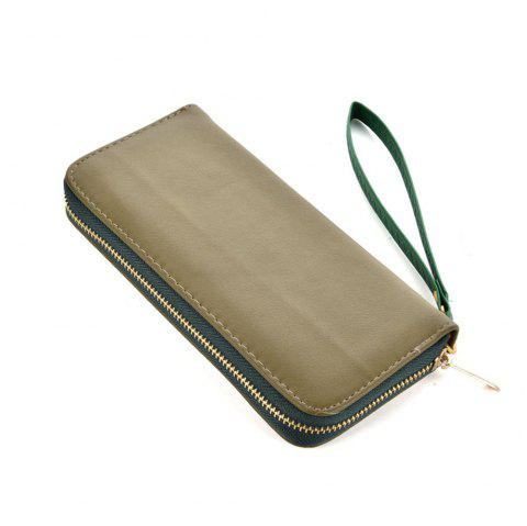 Women's Wallet Solid Color Brief Style Zipper Decor All Match Versatile Wallet - GREEN