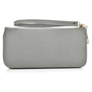 Women's Wallet Solid Color Brief Style Zipper Decor All Match Versatile Wallet - GRAY