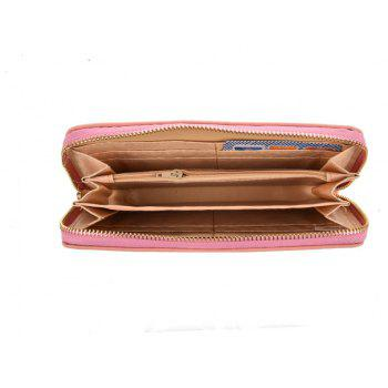 Women's Wallet Solid Color Brief Style Zipper Decor All Match Versatile Wallet - PINK
