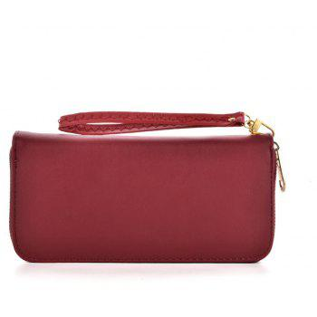 Women's Wallet Solid Color Brief Style Zipper Decor All Match Versatile Wallet - RED