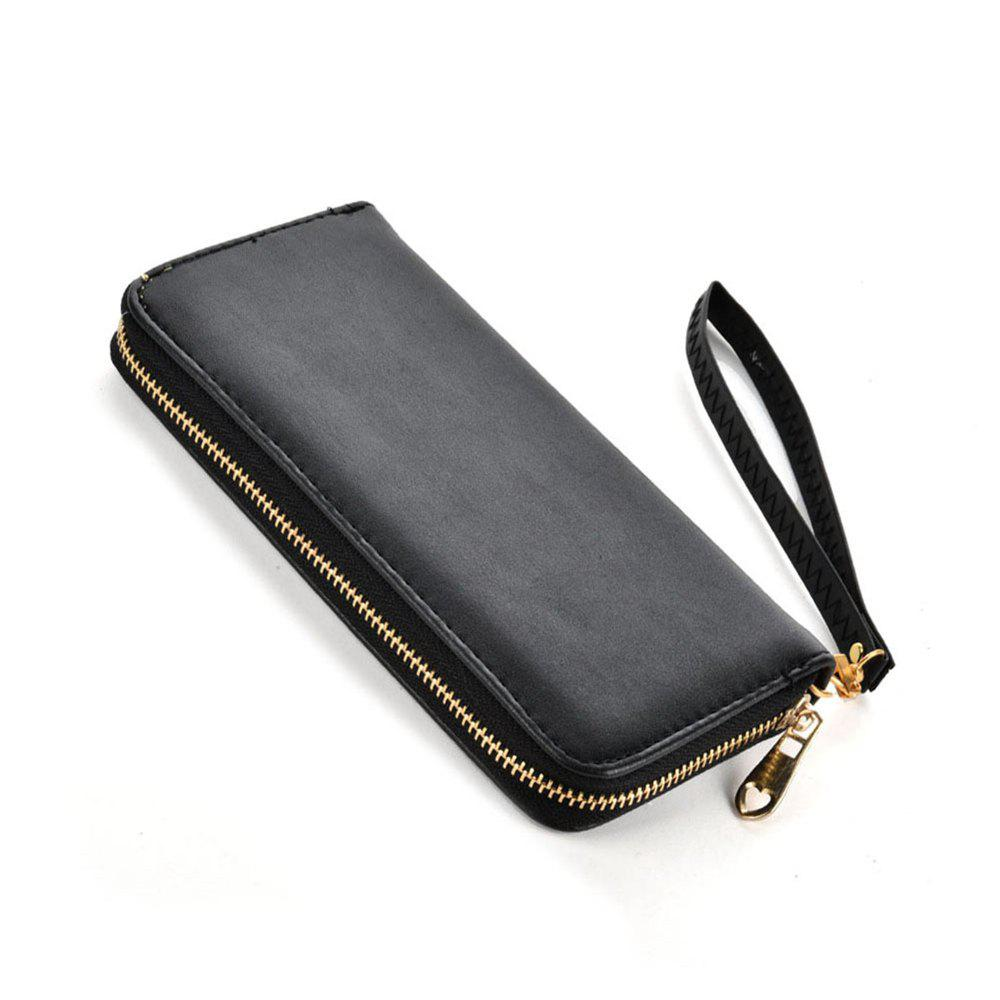 Women's Wallet Solid Color Brief Style Zipper Decor All Match Versatile Wallet - BLACK