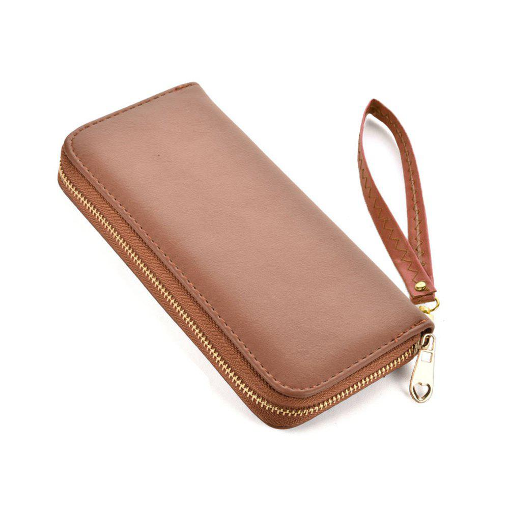Women's Wallet Solid Color Brief Style Zipper Decor All Match Versatile Wallet - BROWN