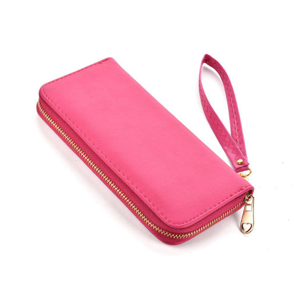 Women's Wallet Solid Color Brief Style Zipper Decor All Match Versatile Wallet - WINE RED