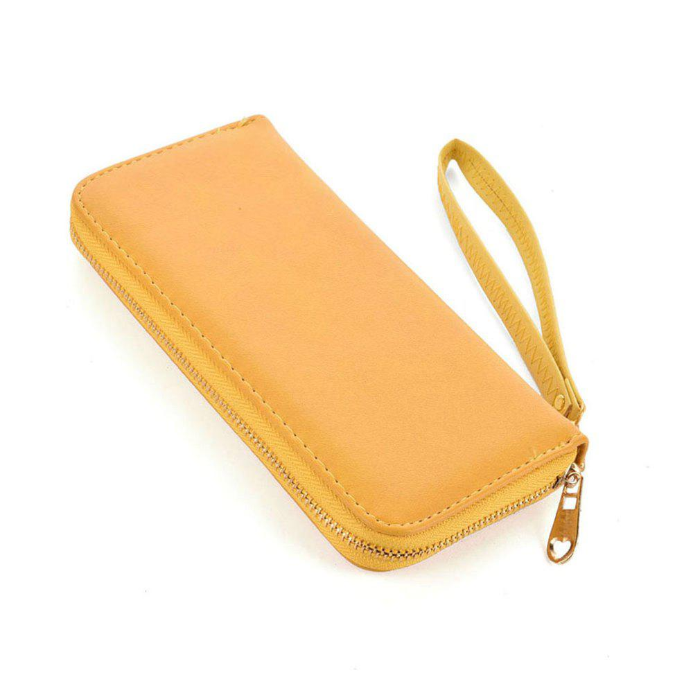 Women's Wallet Solid Color Brief Style Zipper Decor All Match Versatile Wallet - YELLOW