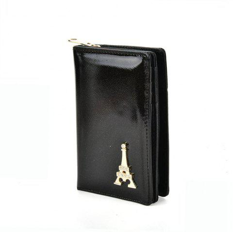 Women's Wallet Metal Decor Short Pattern Zippers Design Purse - BLACK
