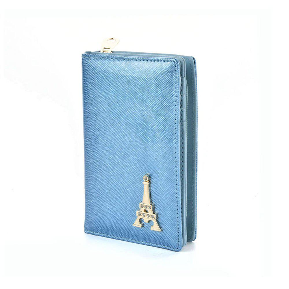 Women's Wallet Metal Decor Short Pattern Zippers Design Purse - BLUE