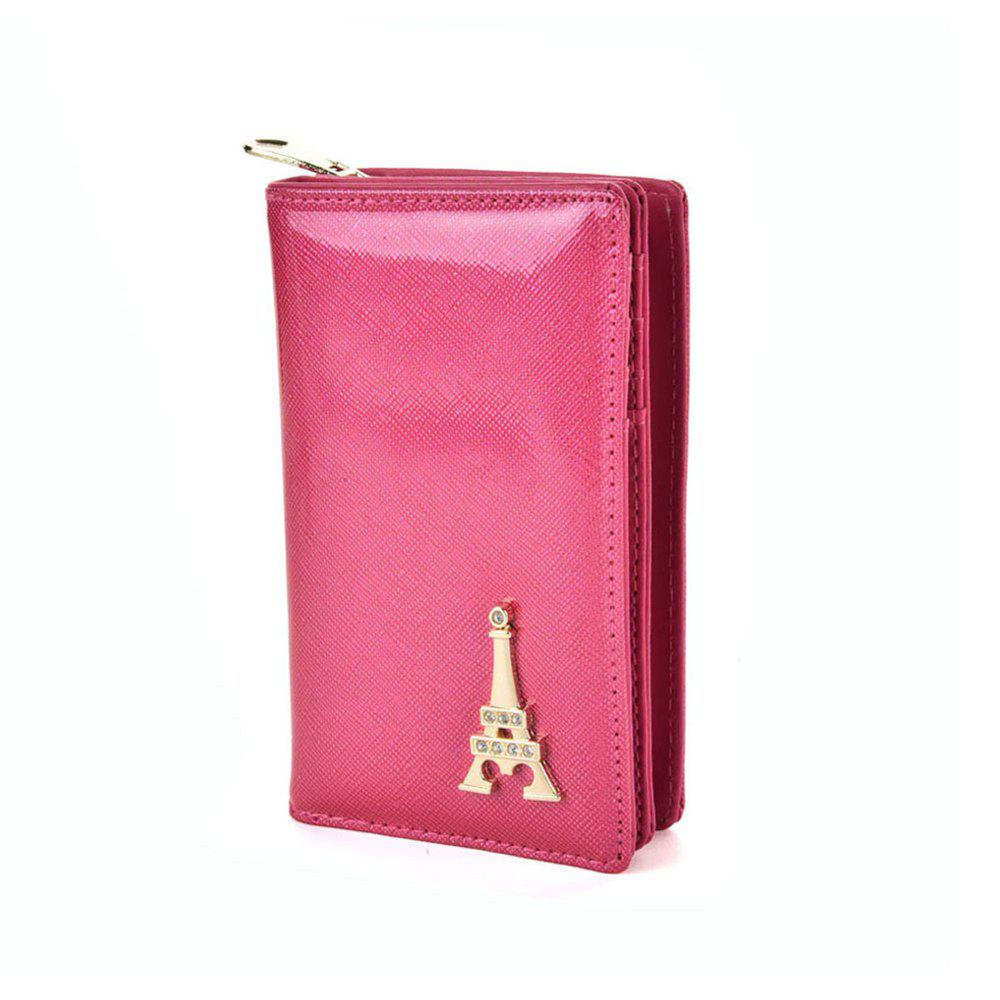 Women's Wallet Metal Decor Short Pattern Zippers Design Purse - PEACH RED